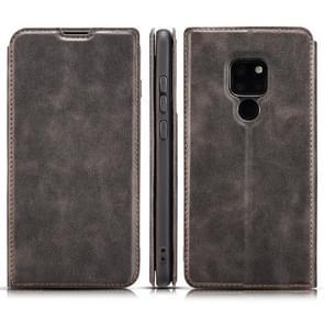 Retro eenvoudige ultra-dunne magnetische horizontale Flip lederen case voor Huawei mate 20  met houder & card slots & Lanyard (zwart)