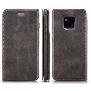 Retro eenvoudige ultra-dunne magnetische horizontale Flip lederen case voor Huawei mate 20 Pro  met houder & card slots & Lanyard (zwart)