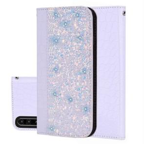 Crocodile Texture Glitter Powder Horizontal Flip Leather Case for Huawei P30, with Card Slots & Holder (White)