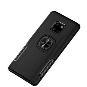 Shockproof Car Magnetic Case with 360 Degree Gold Armor Ring for Huawei Mate 20 Pro (Black)