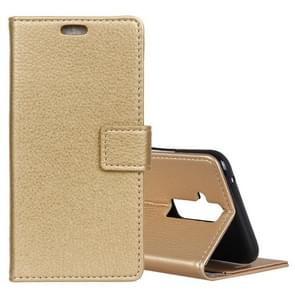 Litchi Texture Horizontal Flip Leather Case for Huawei Mate 20 Lite, with Holder & Card Slots & Wallet (Gold)