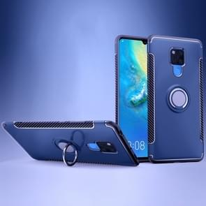 Shockproof Car Magnetic Case with 360 Degree Rotating Armor Ring for Huawei Mate 20 X(Blue)