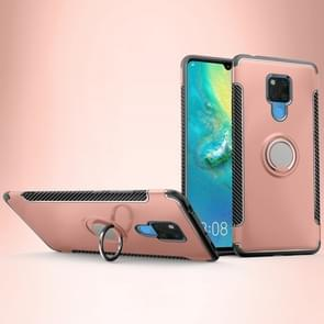 Shockproof Car Magnetic Case with 360 Degree Rotating Armor Ring for Huawei Mate 20 X(Rose Gold)