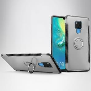 Shockproof Car Magnetic Case with 360 Degree Rotating Armor Ring for Huawei Mate 20 X(Silver)