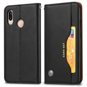 Knead Skin Texture Horizontal Flip Leather Case for Huawei P30 Lite, with Photo Frame & Holder & Card Slots & Wallet (Black)