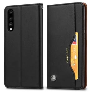 Knead Skin Texture Horizontal Flip Leather Case for Huawei P30, with Photo Frame & Holder & Card Slots & Wallet (Black)