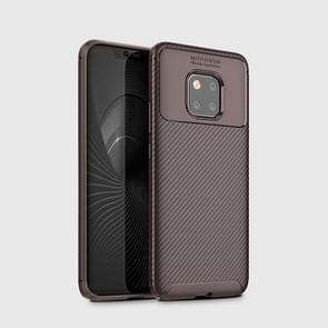 Kever vorm Carbon Fiber textuur schokbestendig TPU Case voor Huawei mate 20 Pro (bruin)