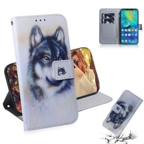 White Wolf Pattern Coloured Drawing Horizontal Flip Leather Case for Huawei Mate 20 Pro, with Holder & Card Slots & Wallet