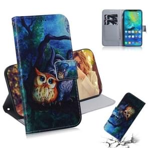 Oil Painting Owl Pattern Coloured Drawing Horizontal Flip Leather Case for Huawei Mate 20 Pro, with Holder & Card Slots & Wallet