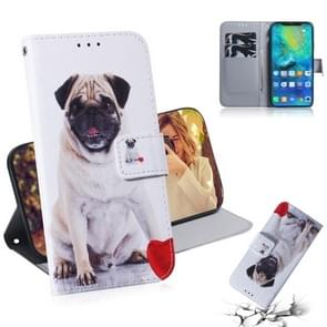 Pug Pattern Coloured Drawing Horizontal Flip Leather Case for Huawei Mate 20 Pro, with Holder & Card Slots & Wallet