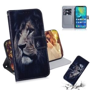 Lion Pattern Coloured Drawing Horizontal Flip Leather Case for Huawei Mate 20 Pro, with Holder & Card Slots & Wallet