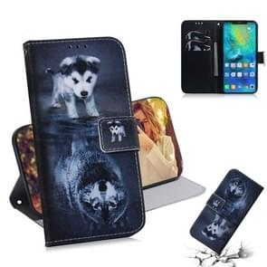 Wolf and Dog Pattern Coloured Drawing Horizontal Flip Leather Case for Huawei Mate 20 Pro, with Holder & Card Slots & Wallet