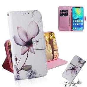Magnolia Flower Pattern Coloured Drawing Horizontal Flip Leather Case for Huawei Mate 20 Pro, with Holder & Card Slots & Wallet