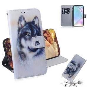 White Wolf Pattern Coloured Drawing Horizontal Flip Leather Case for Huawei P30, with Holder & Card Slots & Wallet