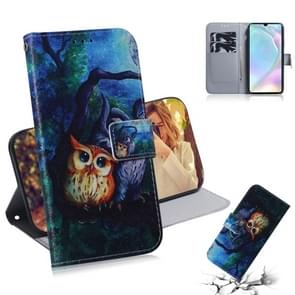 Oil Painting Owl Pattern Coloured Drawing Horizontal Flip Leather Case for Huawei P30, with Holder & Card Slots & Wallet