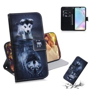 Wolf and Dog Pattern Coloured Drawing Horizontal Flip Leather Case for Huawei P30, with Holder & Card Slots & Wallet