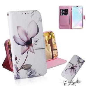 Magnolia bloem patroon gekleurde tekening horizontale Flip lederen case voor Huawei P30  met houder & card slots & portemonnee