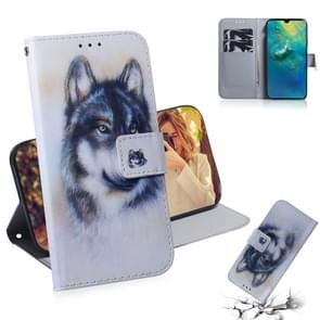 White Wolf Pattern Coloured Drawing Horizontal Flip Leather Case for Huawei Mate 20, with Holder & Card Slots & Wallet
