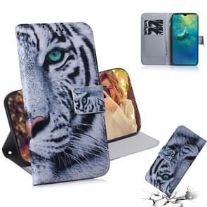 Tiger patroon gekleurde tekening horizontale Flip lederen case voor Huawei mate 20  met houder & card slots & portemonnee
