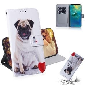 Mopshond patroon gekleurde tekening horizontale Flip lederen case voor Huawei mate 20  met houder & card slots & portemonnee