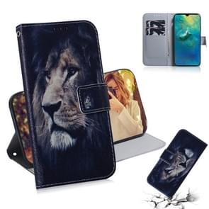 Leeuw patroon gekleurde tekening horizontale Flip lederen case voor Huawei mate 20  met houder & card slots & portemonnee