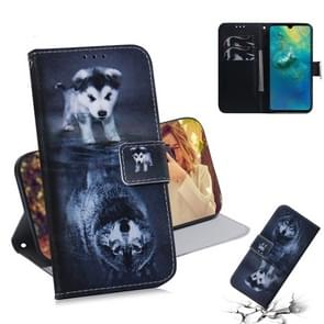 Wolf en hond patroon gekleurde tekening horizontale Flip lederen case voor Huawei mate 20  met houder & card slots & portemonnee