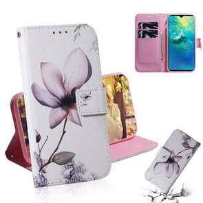 Magnolia bloem patroon gekleurde tekening horizontale Flip lederen case voor Huawei mate 20  met houder & card slots & portemonnee