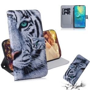 Tiger Pattern Coloured Drawing Horizontal Flip Leather Case for Huawei Mate 20 X, with Holder & Card Slots & Wallet