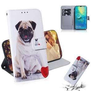 Pug Pattern Coloured Drawing Horizontal Flip Leather Case for Huawei Mate 20 X, with Holder & Card Slots & Wallet