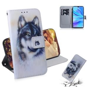 White Wolf Pattern Coloured Drawing Horizontal Flip Leather Case for Huawei P30 Lite / Nova 4e, with Holder & Card Slots & Wallet