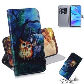 Oil Painting Owl Pattern Coloured Drawing Horizontal Flip Leather Case for Huawei P30 Lite / Nova 4e, with Holder & Card Slots & Wallet