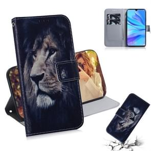 Lion Pattern Coloured Drawing Horizontal Flip Leather Case for Huawei P30 Lite / Nova 4e, with Holder & Card Slots & Wallet