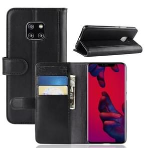 Horizontal Flip Genuine Leather Case for Huawei Mate 20 Pro, with Card Slots & Holder & Wallet(Black)