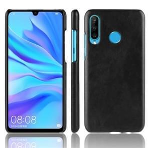 Schokbestendige Litchi textuur PC + PU beschermhoes voor Huawei P30 Lite (zwart)