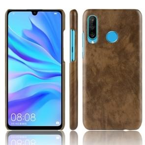 Shockproof Litchi Texture PC + PU Protective Case for Huawei P30 Lite (Brown)