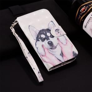 Siberian Husky Pattern Colored Drawing Horizontal Flip Leather Case for Huawei P30, with Holder & Card Slots & Wallet & Lanyard