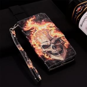 Flame Skull Pattern Colored Drawing Horizontal Flip Leather Case for Huawei P30, with Holder & Card Slots & Wallet & Lanyard