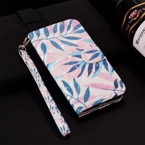 Green Leaves Pattern Colored Drawing Horizontal Flip Leather Case for Huawei P30, with Holder & Card Slots & Wallet & Lanyard