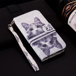 Cat Pattern Colored Drawing Horizontal Flip Leather Case for Huawei P30, with Holder & Card Slots & Wallet & Lanyard
