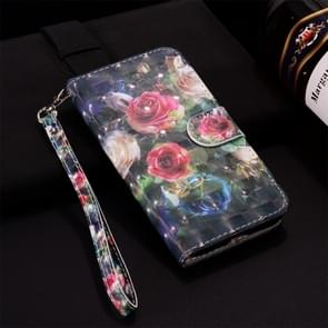Rose Pattern Colored Drawing Horizontal Flip Leather Case for Huawei P30 Lite, with Holder & Card Slots & Wallet & Lanyard
