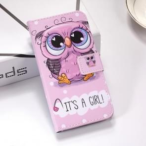 Schattige uil patroon gekleurde tekening horizontale Flip lederen case voor Huawei mate 20  met houder & card slots & portemonnee & Lanyard