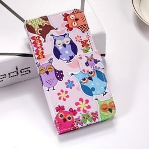 Kleurrijke uil patroon gekleurde tekening horizontale Flip lederen case voor Huawei mate 20  met houder & card slots & portemonnee & Lanyard