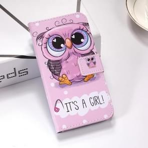 Cute Owl Pattern Colored Drawing Horizontal Flip Leather Case for Huawei Mate 20 Lite, with Holder & Card Slots & Wallet & Lanyard