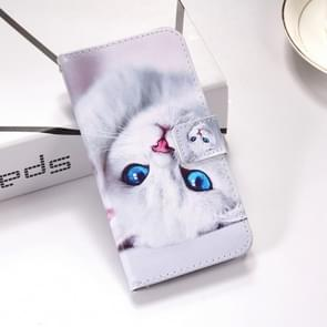 White Cat Pattern Colored Drawing Horizontal Flip Leather Case for Huawei Mate 20 X, with Holder & Card Slots & Wallet & Lanyard