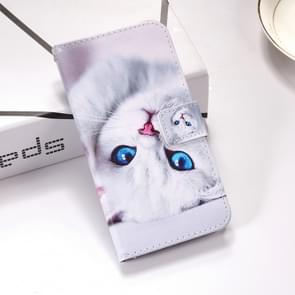 White Cat Pattern Colored Drawing Horizontal Flip Leather Case for Huawei P30, with Holder & Card Slots & Wallet & Lanyard
