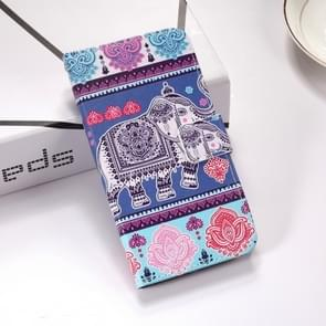 Elephant Pattern Colored Drawing Horizontal Flip Leather Case for Huawei P30, with Holder & Card Slots & Wallet & Lanyard