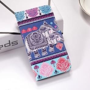 Olifant patroon gekleurde tekening horizontale Flip lederen case voor Huawei P30 lite  met houder & card slots & portemonnee & Lanyard