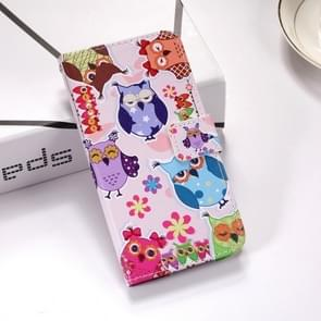 Colorful Owl Pattern Colored Drawing Horizontal Flip Leather Case for Huawei P30 Lite, with Holder & Card Slots & Wallet & Lanyard
