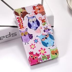 Colorful Owl Pattern Colored Drawing Horizontal Flip Leather Case for Huawei P30 Pro, with Holder & Card Slots & Wallet & Lanyard