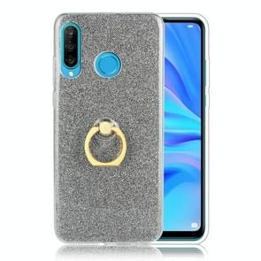 Glittery Powder Shockproof TPU Protective Case for Huawei P30 Lite, with 360 Degree Rotation Ring Holder (Black)